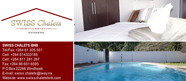 swiss chalets, bnb, bed and breakfast, windhoek, guest house, namibia, conferencing, conference venue, swimming pool, tours, massages, body care